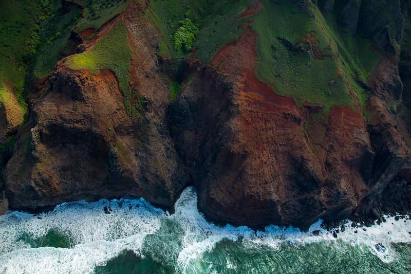 Aerial view of Napali coast, Kauai. Hawaii