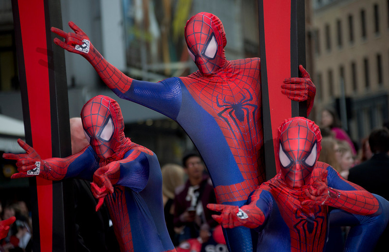 . Costumed performers wearing Spiderman costumes, arrive for the World premiere of The Amazing Spiderman 2, at a central London cinema in Leicester Square, Thursday, April 10, 2014. (Photo by Joel Ryan/Invision/AP)
