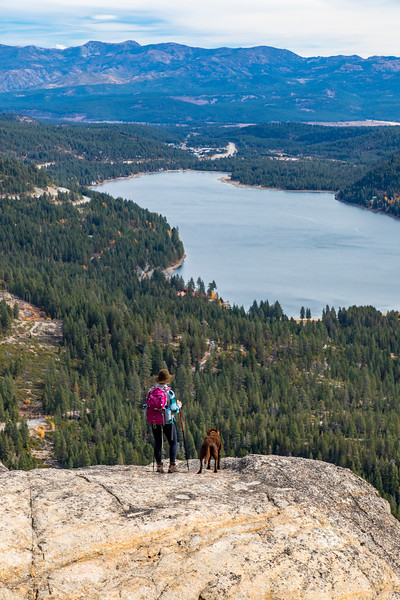 Donner Lake Summit Hiker Women and Dog along the Pacific Crest Trail - PCT