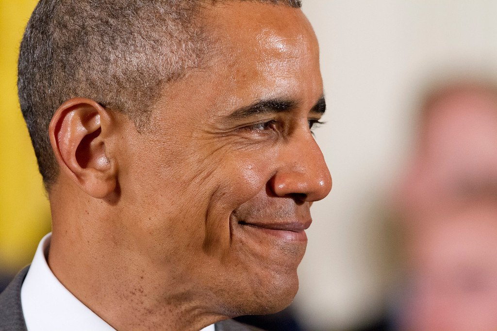 . President Barack Obama smiles in the East Room of the White House in Washington, Thursday, May 7, 2015, during an event where the he honored the U.S. Air Force Academy football team with the Commander-in-Chief Trophy. (AP Photo/Jacquelyn Martin)