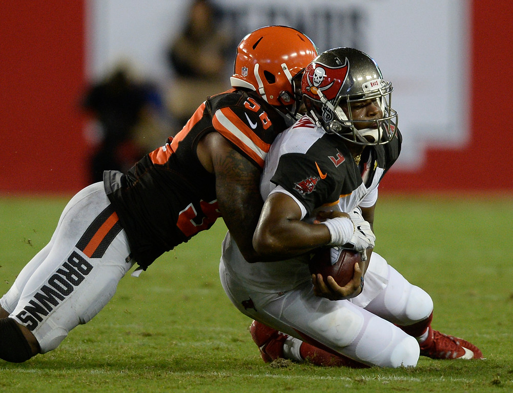 . Tampa Bay Buccaneers quarterback Jameis Winston (3) is sacked by Cleveland Browns inside linebacker Christian Kirksey during the third quarter of an NFL preseason football game Saturday, Aug. 26, 2017, in Tampa, Fla. (AP Photo/Jason Behnken)