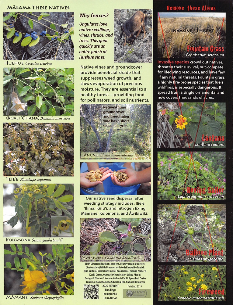 Page 4 of Makana'ā and QR code to website