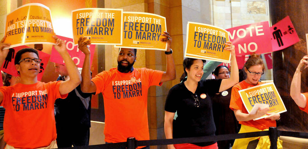 . Gay marriage supporters rally outside the Minnesota House chambers before the floor vote. (Pioneer Press: John Doman)