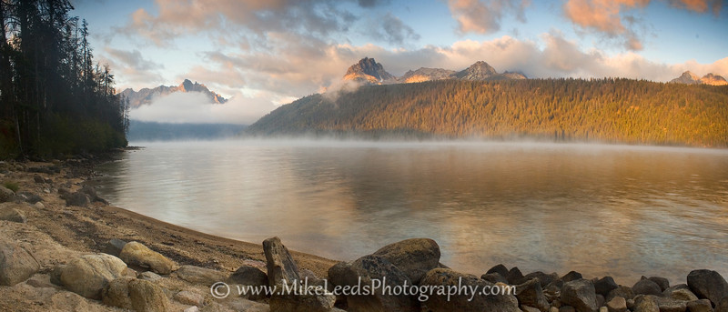 Redfish Lake, looking towards the Sawtooth Mountains. Early Morning in Idaho.