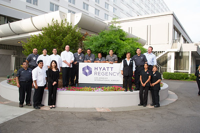 Hyatt LAX - Groups around Sign