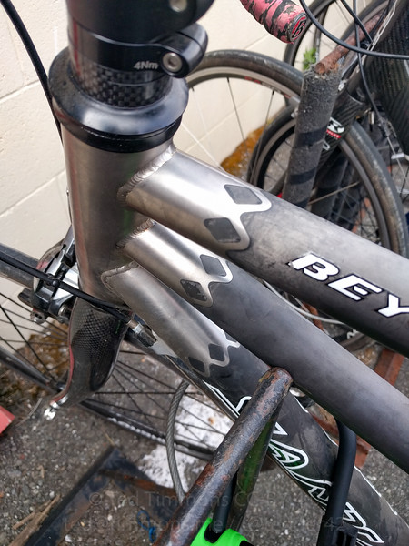 Looking at the beautiful titanium lugs on a Santana Beyond tandem. So pretty.