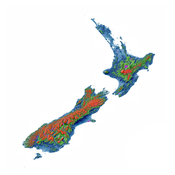 Elevation map of New Zealand