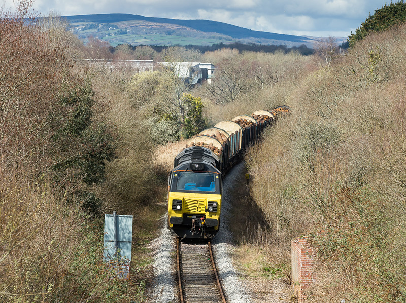 250315  Despite have a booked time off at 0856 it will invariably be later.70804 ambles down the branch towards Newton Abbot at 1200.