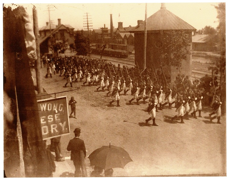 June 10th  1891 Gov Foot Guard leading parade to Memorial Hall dedication from Train Station.jpg