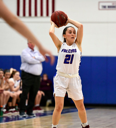 2/28/2019 Mike Orazzi | Staff St. Paul Girls Basketball's Catherine Ciampi (21) during the Class S Second Round State Girls Basketball Tournament with Parish Hill in Bristol Thursday night.