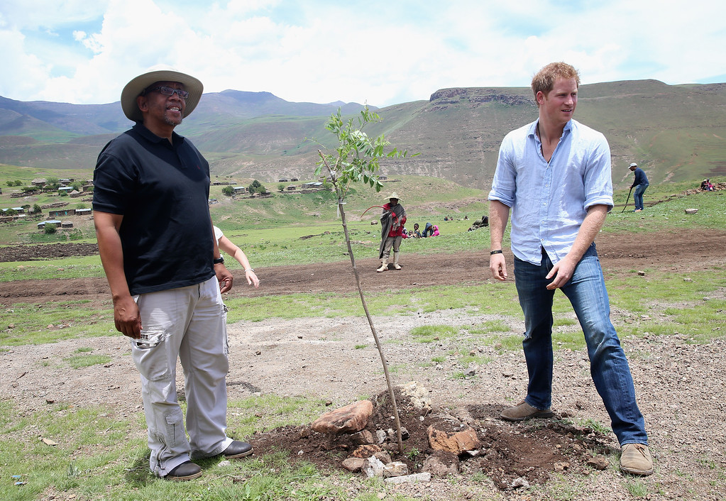 . Prince Harry plants a tree with Prince Seeiso of Lesotho (in hat) during a visit to a herd boy night school constructed by Sentebale on December 8, 2014 in Maseru, Lesotho.  (Photo by Chris Jackson/Getty Images for Sentebale)