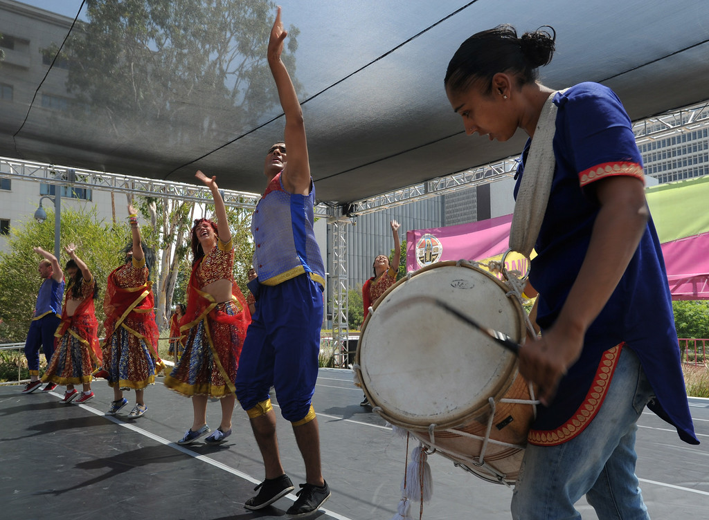 . Blue 13 performs during the 5th Annual National Dance Day celebration at Grand Park and The Music Center. More than 2,000 people participated in the free all-day dance extravaganza.  Los Angeles CA. 7/25/2014(Photo by John McCoy Daily News)