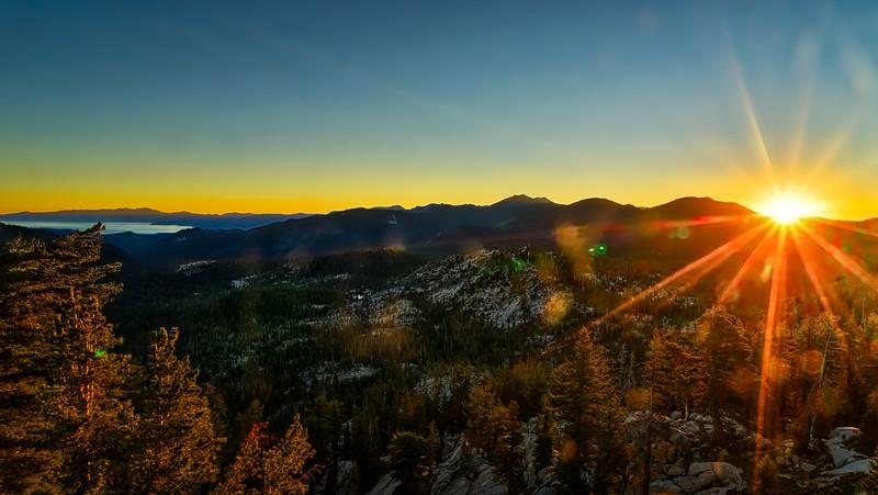 Sunrise over the Tahoe Basin