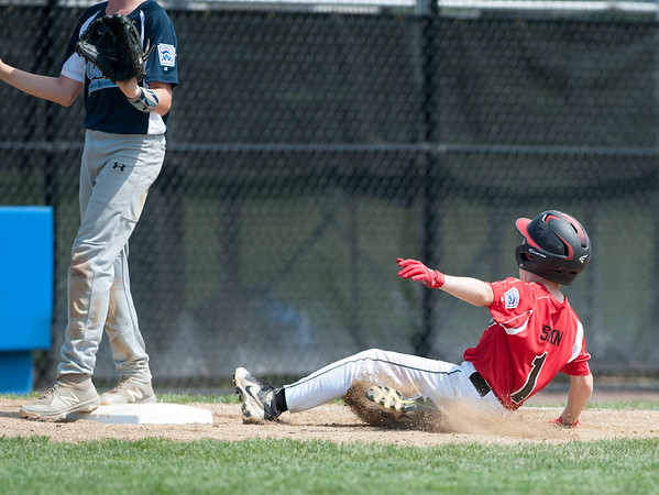 08/06/18 Wesley Bunnell | Staff Rhode Island defeated Vermont 10-0 in a 2018 East Regional Little League game in Bristol on Monday afternoon. Rhode Island's Tyler Simon (1) advances to third base safely.