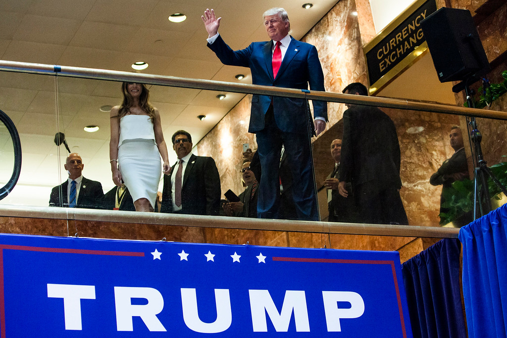 . Business mogul Donald Trump arrives to a press event to announce his candidacy for the U.S. presidency at Trump Tower on June 16, 2015 in New York City.  Trump is the 12th Republican who has announced running for the White House.  (Photo by Christopher Gregory/Getty Images)