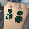 Georgian Double Drop Emerald Paste Earrings 5