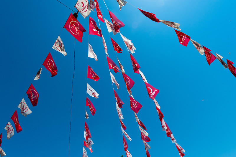 Looking up festival banners in Istanbul, Turkey