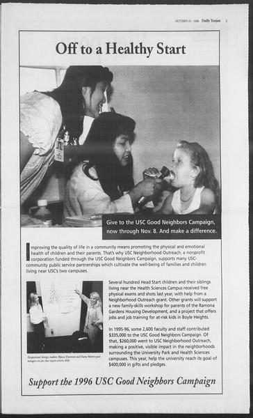 Daily Trojan, Vol. 129, No. 45, October 31, 1996