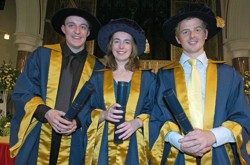 Provision 251006 Kevin Flavin (Tramore, Waterford), Emma Harte (Waterford) and Wayne Cummins (New Ross, Wexford) were conferred with Doctorates at WIT yesterday (Tueday). PIC Bernie Keating/Provision