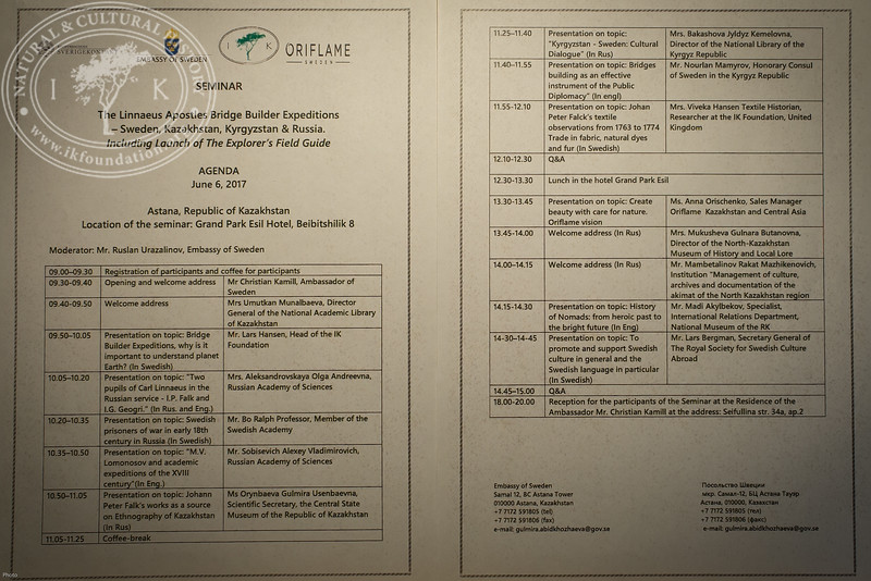 "Seminar agenda at ""The Linnaeus Apostles Bridge Builder Expeditions - Sweden, Kazakhstan, Kyrgyzstan & Russia. Including Launch of The Explorer's Field Guide""."