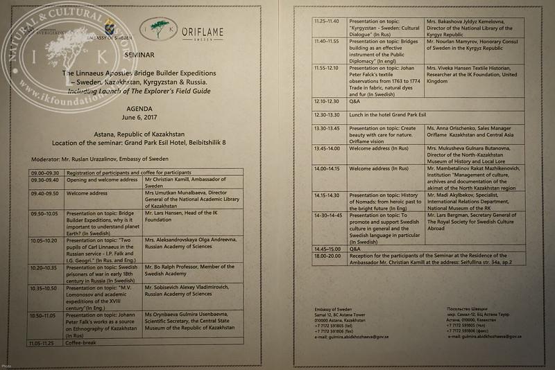 "Seminar agenda at ""The Linnaeus Apostles Bridge Builder Expeditions - Sweden, Kazakhstan, Kyrgyzstan & Russia. Including Launch of The Explorer's Field Guide""."