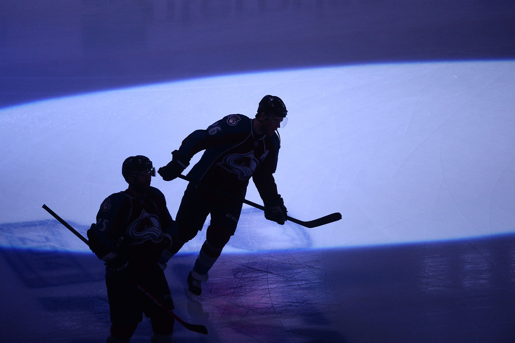 . Maxime Talbot (25) and Paul Stastny (26) of the Colorado Avalanche take the ice before the game. The Colorado Avalanche hosted the Minnesota Wild in game 7 of their Stanley Cup Playoff series at the Pepsi Center in Denver, Colorado on Wednesday, April 30, 2014. (Photo by Karl Gehring/The Denver Post)