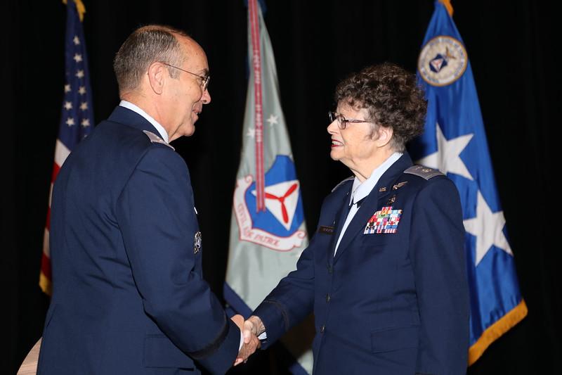 The Frank G. Brewer - Civil Air Patrol Memorial Aerospace Award, Senior Member Category is presented to Lt Col Kathleen Beauford.  Photo by Susan Schneider, CAPNHQ