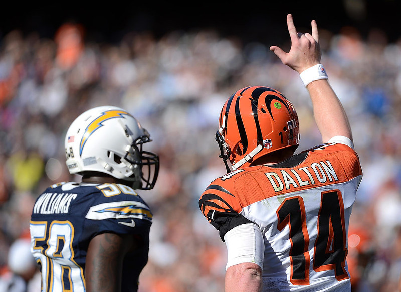 . Andy Dalton #14 of the Cincinnati Bengals gestures during the game against the San Diego Chargers on December 2, 2012 at Qualcomm Stadium in San Diego, California. (Photo by Donald Miralle/Getty Images)