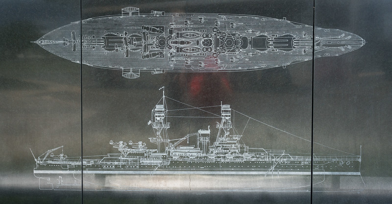 Line drawing of the Oklahoma etched into her memorial