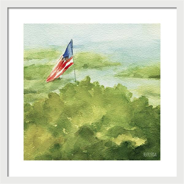 Cape Cod Beach with American Flag watercolor giclee print