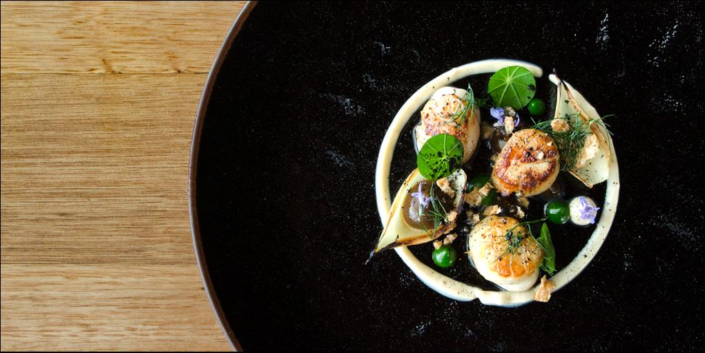 Seared scallops at Pearl + Co.