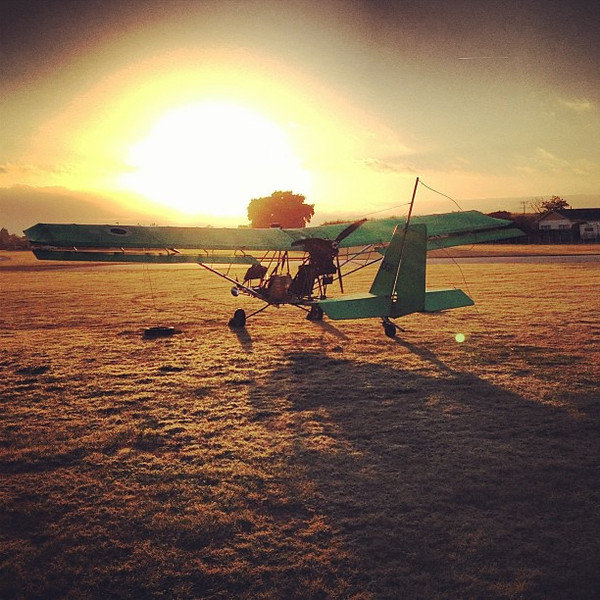 Sunrise at Motueka airfield, the tow-plane tug that takes our hang glider to 2600 feet before cutting us loose. Incredible! #newzealand