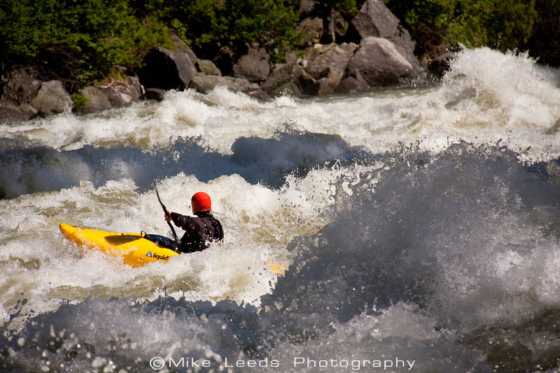 "Paddler Brian Ward in ""Pectoralis Major"" on the North Fork Payette River, Idaho.  6,500-7,000cfs"