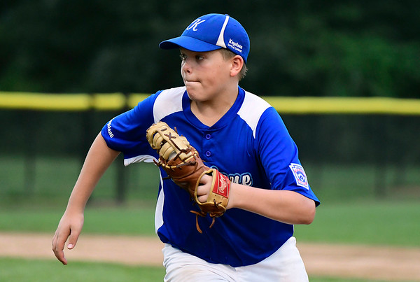 8/7/2018 Mike Orazzi | Staff Keystone Little League's Gabriel Johnson (11) at Breen Field in Bristol Tuesday evening.