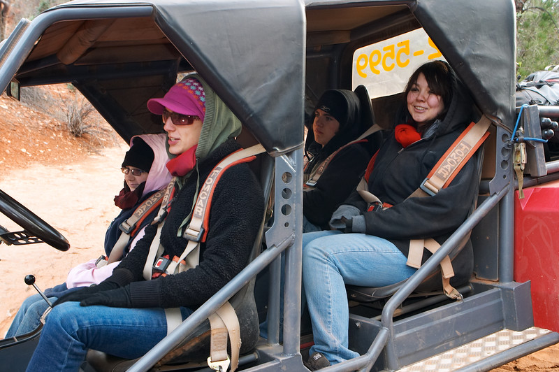 Most of the occupants of the TomCar are enjoying themselves