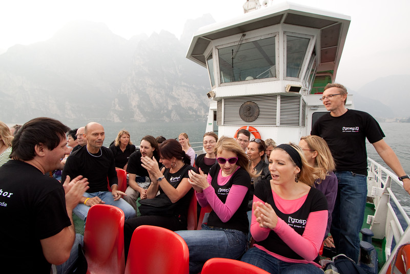 aon the ferry from Riva del Garda to Torbole. Singing - what else!