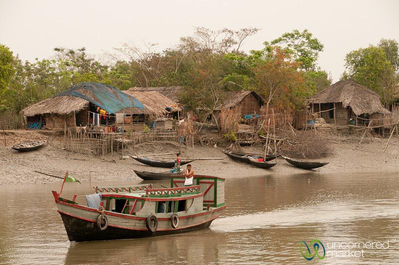 Boat Going Past Village - Khulna to Sundarban, Bangladesh
