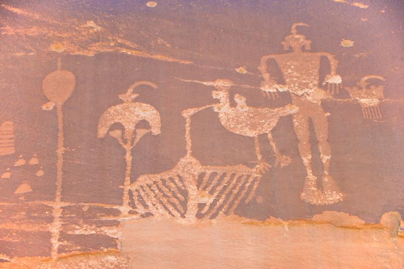 Puebloan rock art in Butler Wash near Comb Ridge, Bluff Utah, wolfman pictograph