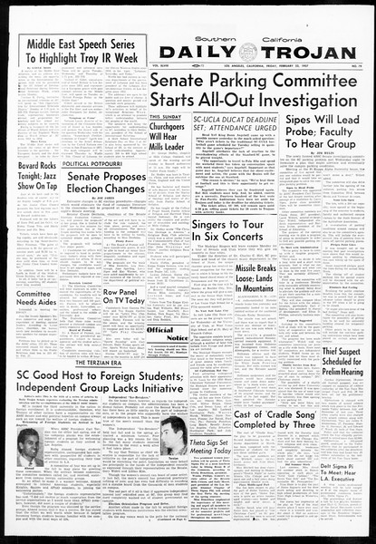 Daily Trojan, Vol. 48, No. 79, February 22, 1957