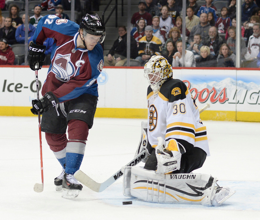. Colorado center Gabriel Landeskog (92) watched as a shot sailed wide of the net in the third period. The Boston Bruins blanked the Colorado Avalanche 2-0 at the Pepsi Center Friday night, March 21, 2014. (Photo by Karl Gehring/The Denver Post)
