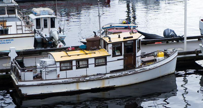 A harbor boat that's seen better days
