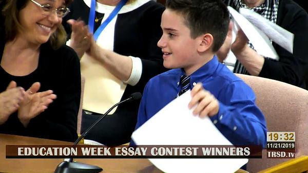 20191121 Education Week Essay Contest Winners