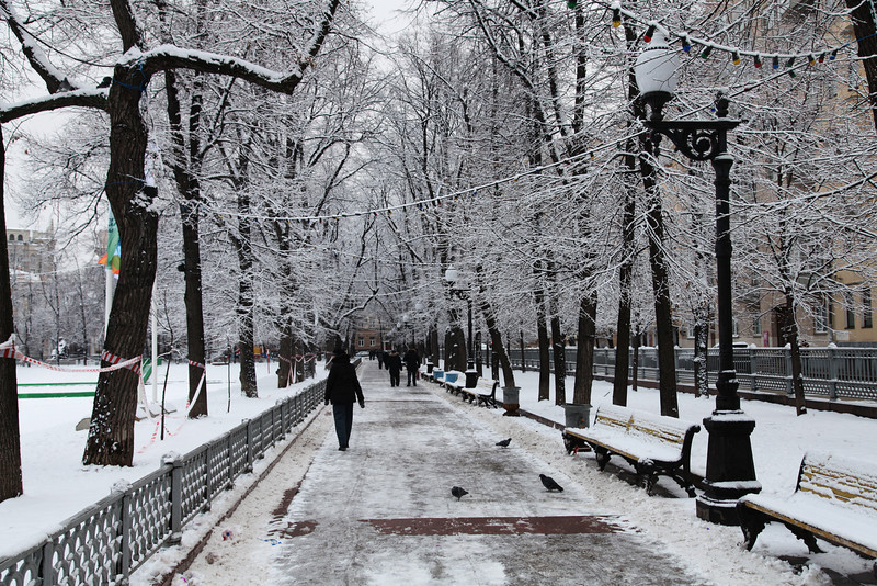 Winter in Moscow. Patriarch Ponds under a fresh layer of snow.