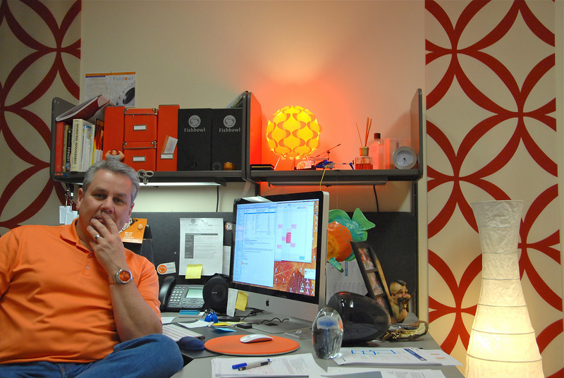2011/2/8 - Some days you feel a little blue, but today I felt a little orange. Orange is our primary corporate color at Fishbowl. As you can see I've fully embraced the color orange in my office at work, including the orange shirt and orange faced watch. What you can't see are the two orange chairs just out of the picture to the right.