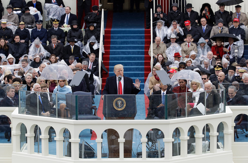 . President Donald Trump delivers his inaugural address after being sworn in as the 45th president of the United States during the 58th Presidential Inauguration at the U.S. Capitol in Washington, Friday, Jan. 20, 2017. (AP Photo/Patrick Semansky)
