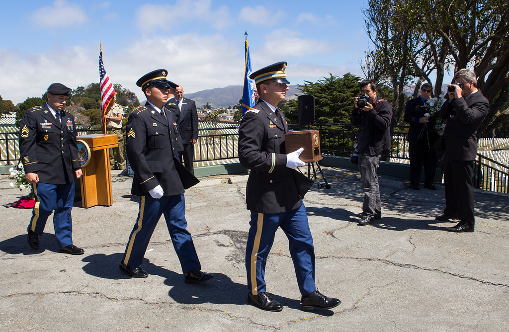 . Members of the honor guard carry an urn vault with the remains of Sgt. 1st Class Joseph Steinberg at Golden Gate National Cemetery in San Bruno, Calif., on Aug. 1, 2013. Steinberg, who disappeared as a POW during the Korean War, died on April 30, 1951. His remains were recently identified with the use of DNA and returned 62 years after he went missing. Steinberg was interred at Golden Gate National Cemetery alongside his three brothers, all of whom were WWII veterans. (John Green/Bay Area News Group)