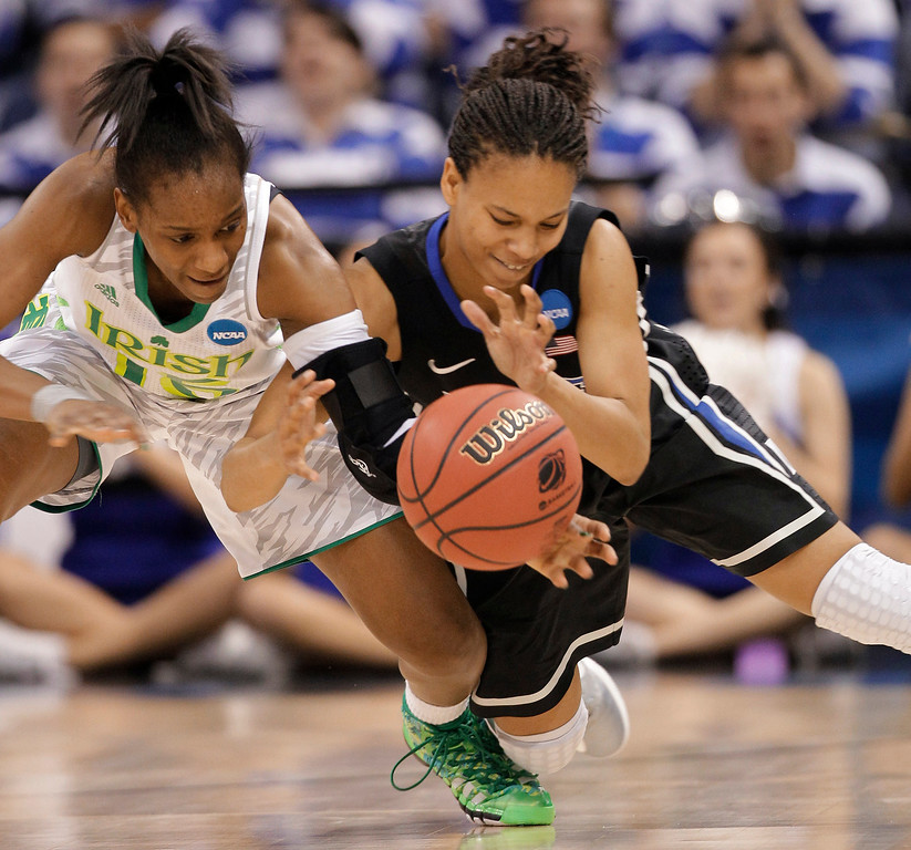 . Notre Dame guard Kaila Turner, left, tries to control the ball as Duke guard Chloe Wells (4) makes the steal during the first half of the regional final of the NCAA women\'s college basketball tournament Tuesday, April 2, 2013, in Norfolk, Va.  (AP Photo/Steve Helber)