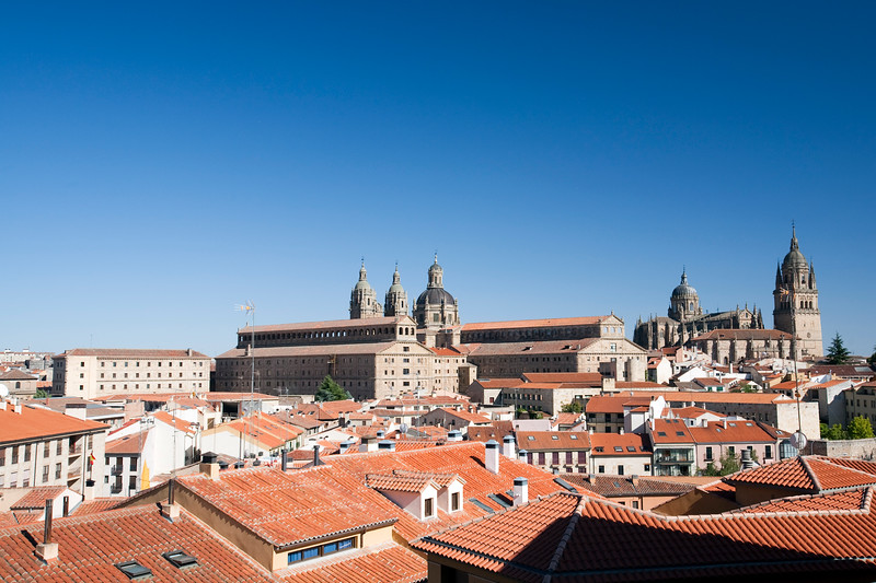 Cityscape of Salamanca with the Clergy church and the Pontifical University (left) and the Cathedral (right), town of Salamanca, autonomous community of Castilla and Leon, Spain