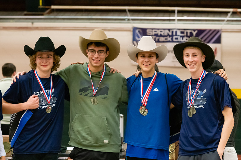 The 4x800 relay team is  recognized for their first place finish. (from left) Jarret Muzzy, Eric Reitz, Ben Huston and Gabe Praamsma.  Vermont Division II Indoor Track State Championships - UVM Gutterson Field House - 2/16/2020