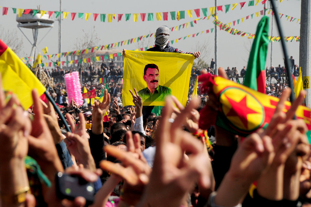 . Kurds celebrate on March 21, 2013 Nowruz, the Persian New Year festival, and flash victory signs in the southern Turkish city of Diyarbakir. The festival is celebrated in Turkey, Central Asian republics, Iraq, Iran, Azerbaijan as well as war-torn Afghanistan and coincides with the astronomical vernal equinox. The festival is celebrated in Turkey, Central Asian republics, Iraq, Iran, Azerbaijan as well as war-torn Afghanistan and coincides with the astronomical vernal equinox. Jailed Kurdish rebel chief Abdullah Ocalan called on March 21 for a ceasefire, telling militants to lay down their arms and withdraw from Turkish soil, raising hopes for an end to a three-decade conflict with Turkey that has cost tens of thousands of lives.  AFP PHOTO / STR-/AFP/Getty Images